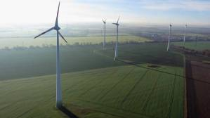 Wind turbines spin at a wind farm on November 17, 2014 near Brieselang, Germany. Ontario has 62 separate wind farms approved or proposed, under rules that allow them to be built 550 metres from homes, and at a noise level of up to 40 decibels in rural areas – the level at which the adverse health effects of annoyance set in, according to the World Health Organization. (Sean Gallup/Getty Images)