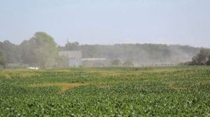 Dust is seen spreading from the construction site of one of 77 wind turbines that make up the Niagara Region Wind Farm.