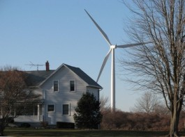house and wind turbine