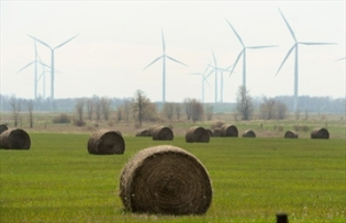 hay bales and turbines